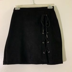 Dresses & Skirts - Super cute suede black lace up skirt